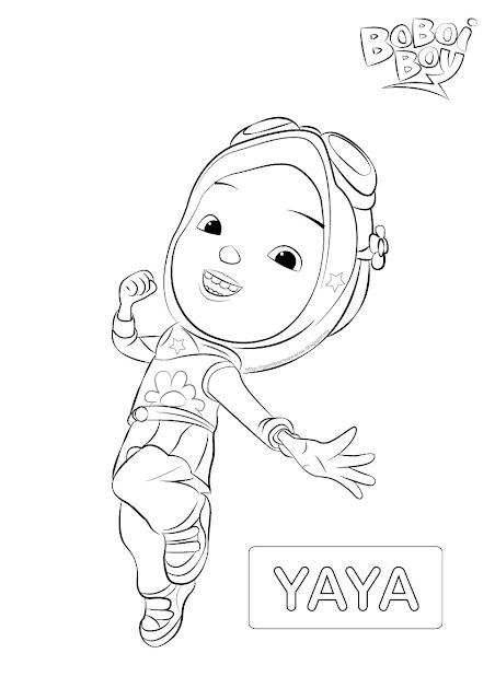 Gambar mewarna watak Yaya Boboi Boy