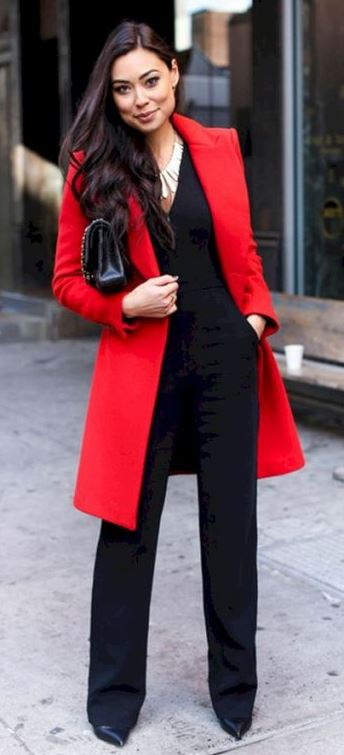 how to style a red blazer : bag + pants + top + heels