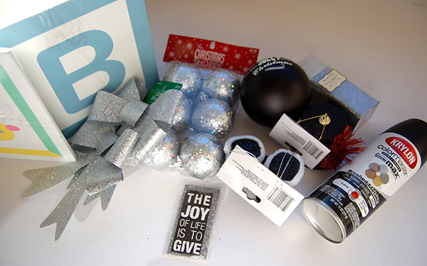 Alphabet box, silver bulbs, silver ribbons, black santa boots, black top hat, black krylon paint