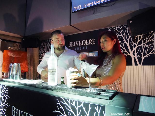 Linora giving a go, at making martinis
