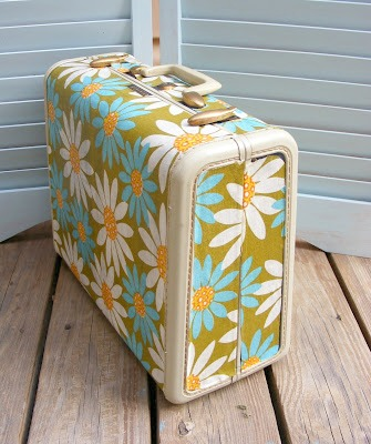 Mod Podge Suitcase Makeover by Sew Can Do