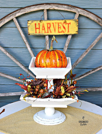 Upcycled Vintage Wooden Fruit Bowl Fall Display