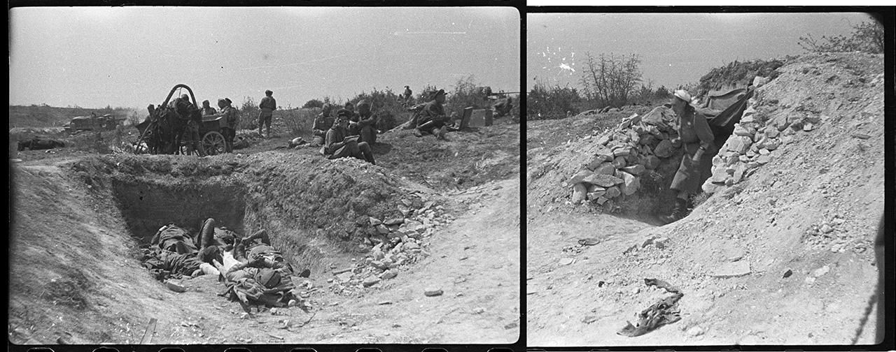 Панорама пункта медицинской помощи в районе Федюкиных высот. Слева — раненые в укрытии; справа — блиндаж санитарной роты. 9 мая 1944 года