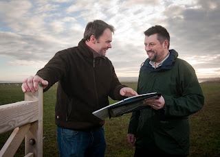 Farmer Simeon Morgan with Rhys Morgan discussing New Forest Commoners Grant Scheme