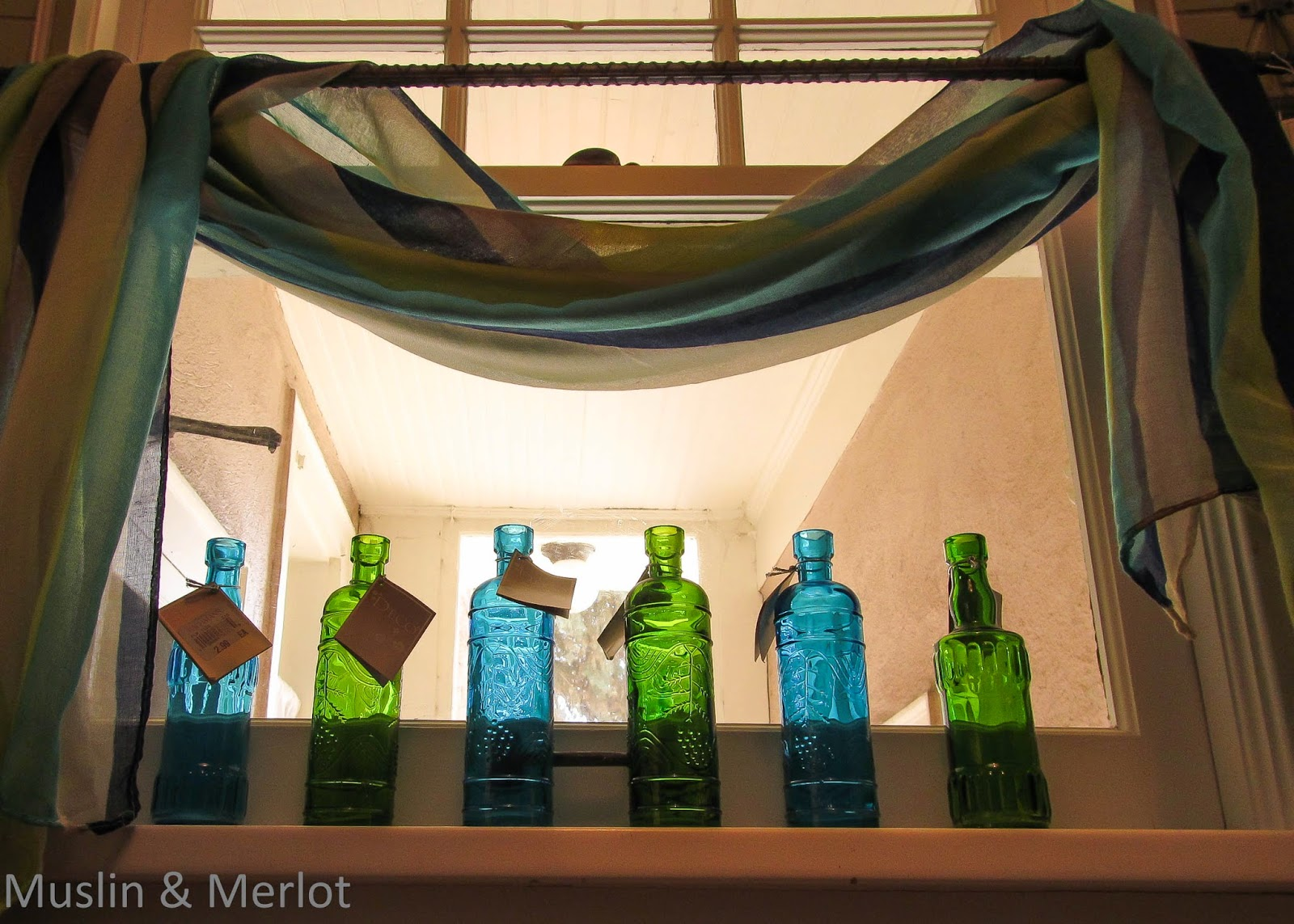 Oh-so-pretty glass bottle decor.