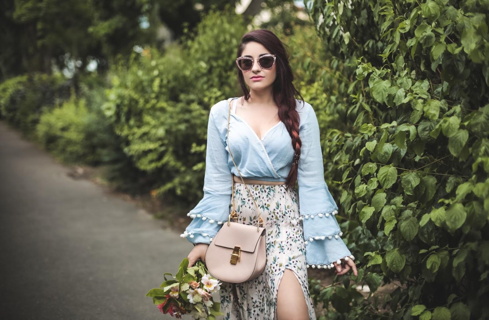 jupe longue à fleurs