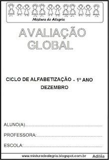 Avaliação global de 1º ano alfabetização