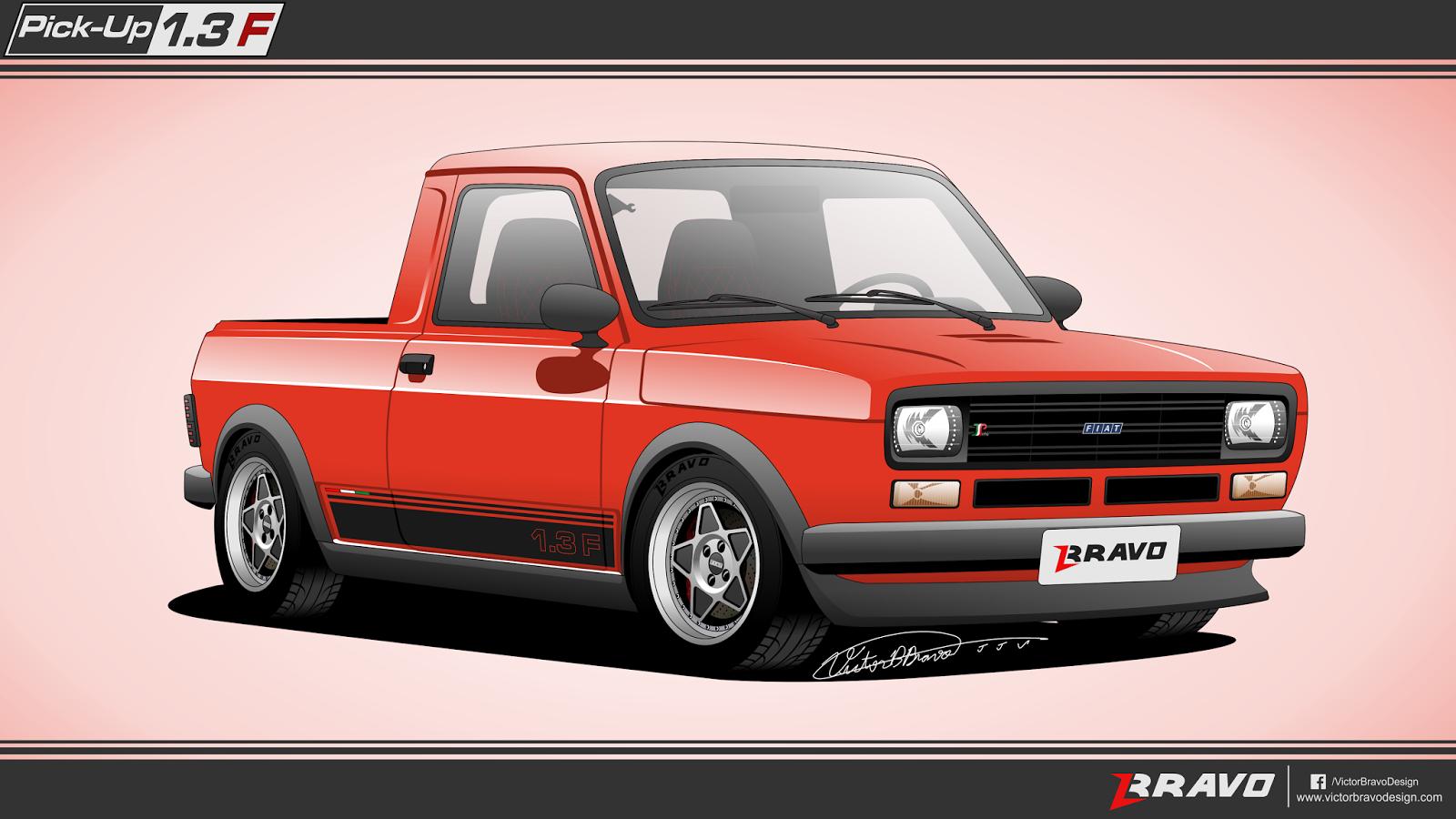 """Imagem mostrando o desenho da dianteira da Fiat Pick-Up 147 """"1.3F"""""""