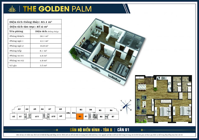 Mặt bằng căn B2 tòa B chung cư The Golden Palm
