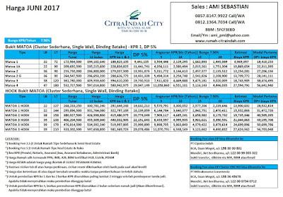 Harga Bukit Matoa Citra Indah City JUNI 2017