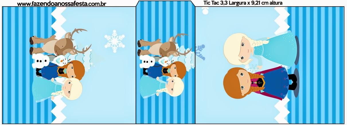 Etiqueta Tic Tac de Frozen Niñas para Navidad Azul.