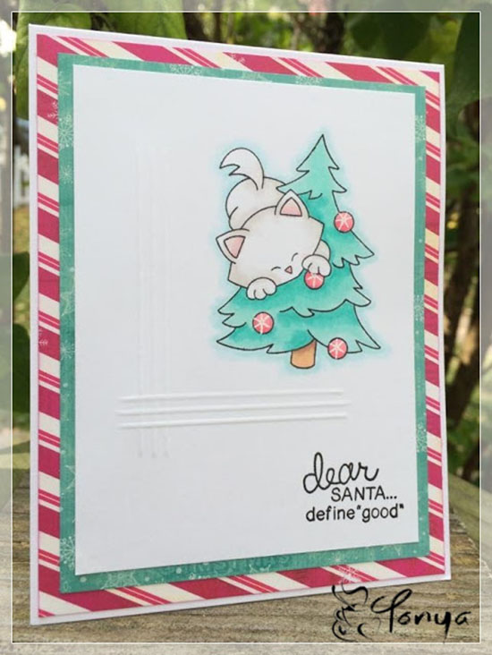 Kitty Christmas Tree card by Tonaya | Newton's Curious Christmas Stamp set by Newton's Nook Designs #newtonsnook