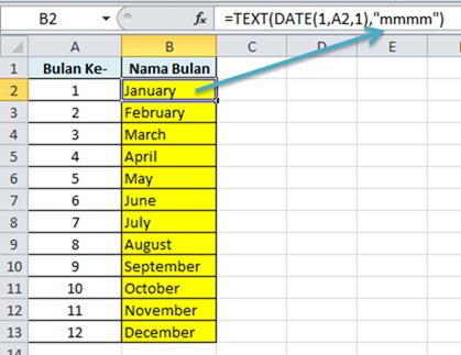 Contoh Rumus Excel Merubah Angkak Menjadi Bulan