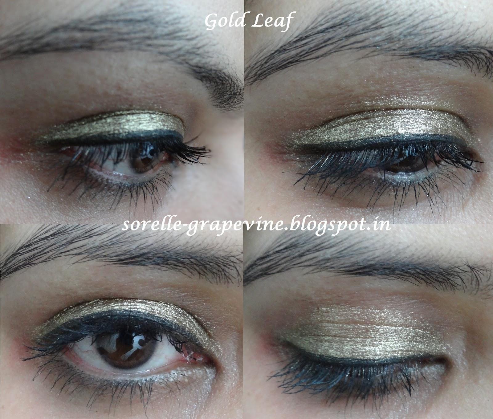 Sorelle Grapevinesleek Makeup Molten Metal Eyeshadow Gold Leaf And