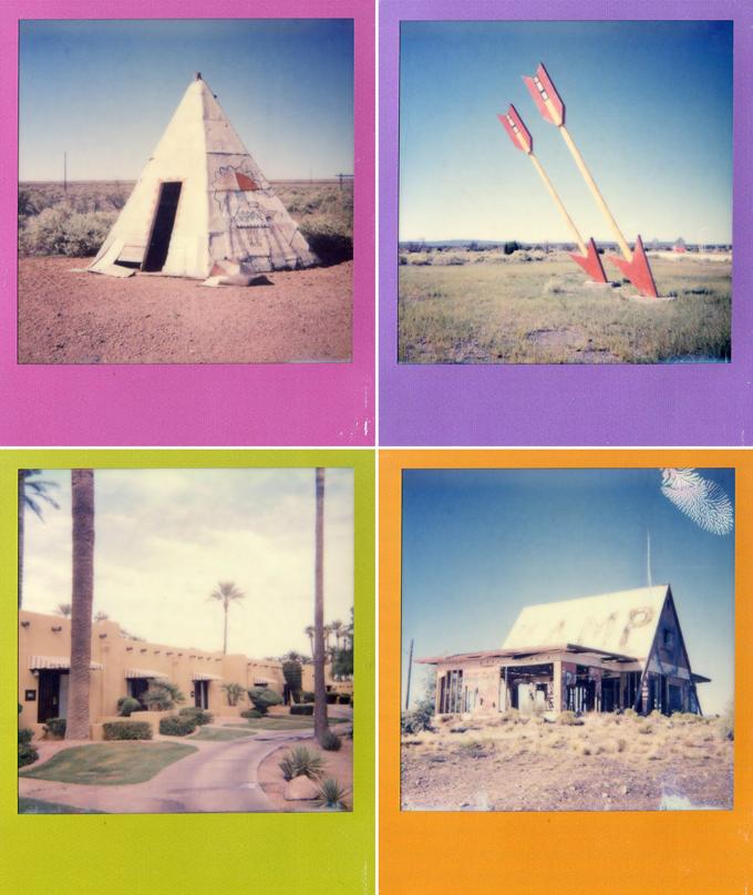 desert, abandoned, instant film, arizona, twin arrows, polaroid