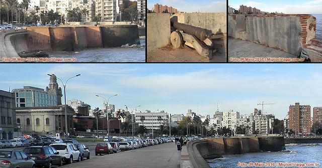 Rambla e antiga fortificação da Cidade Velha em Montevidéu