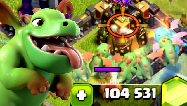 coc, baby dragon, troops