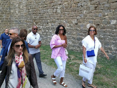 Michelle Obama visiting Montalcino in Tuscany, Italy