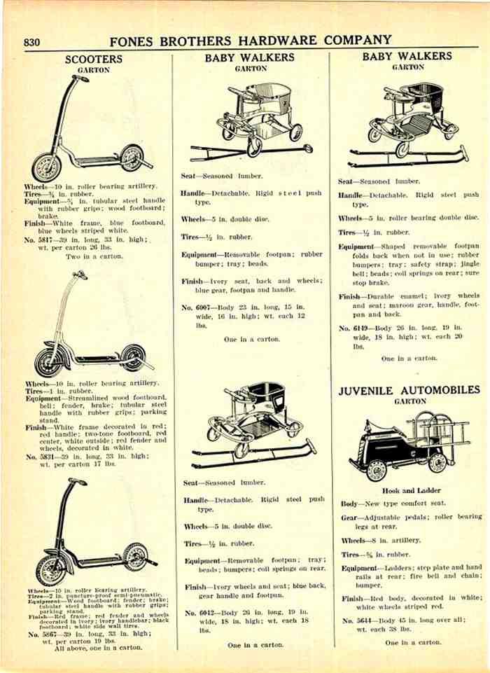 un catalogue qui commercialisait les trottinettes Garton