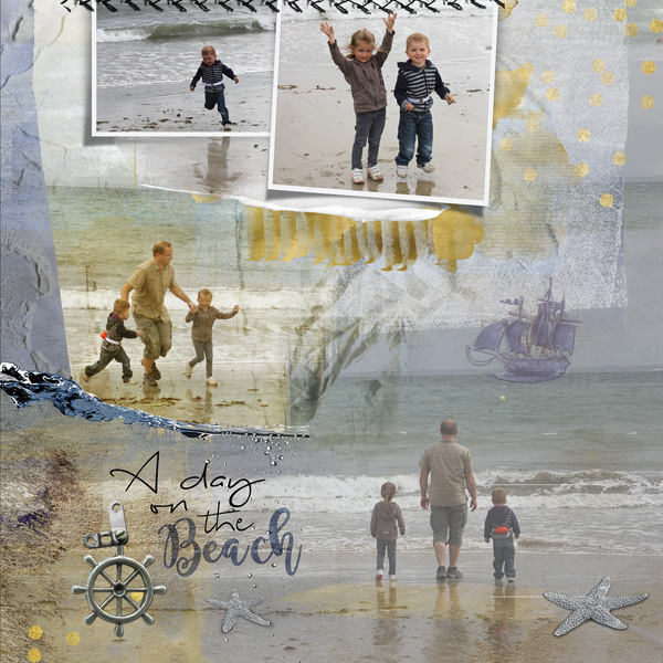 clin d'oeil design clindoeildesign NBK design Beyond the sea artsy scrapbook layout out of the frame sea ocean summer