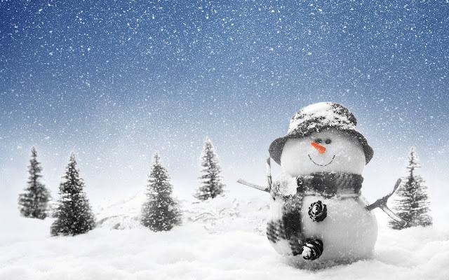 Een 3D sneeuwpop in de sneeuw