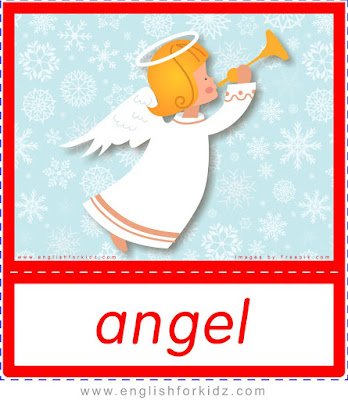 angel, Christmas flashcards for English teachers
