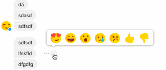 ردود افعال رموز تعبيرية فيس بوك ماسنجر زر لم يعجبنى