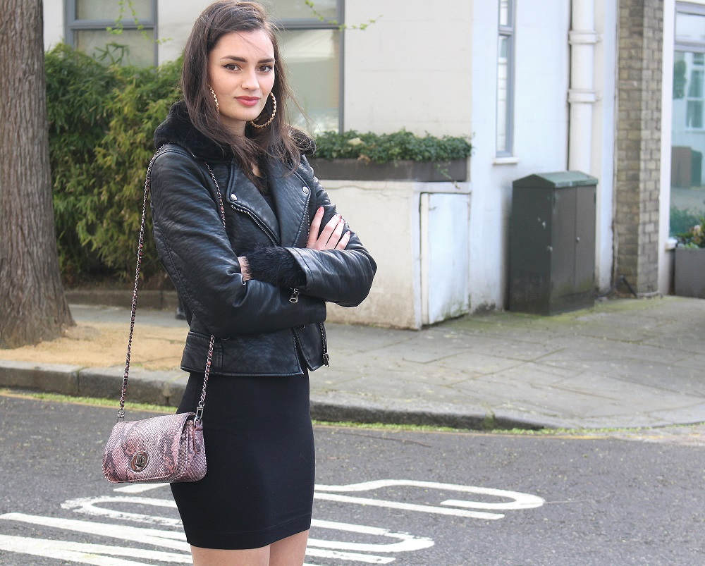 peexo fashion blogger wearing leather jacket and little black dress and snake print bag