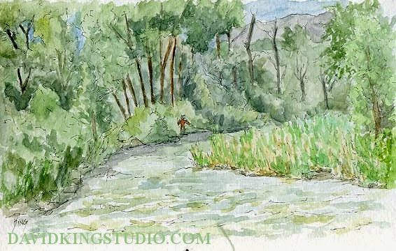 art sketch plein air provo river pen wateroclor