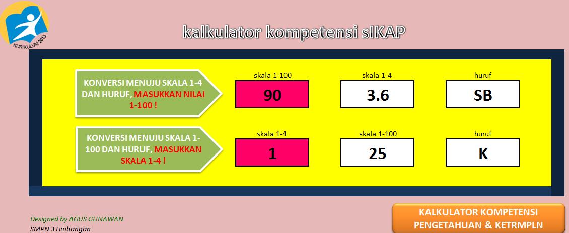 Aplikasi Kalkulator Kurikulum 2013 Penilaian Sikap Pengetahuan Dan Keterampilan Excel