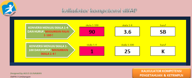 Aplikasi Kalkulator Kurikulum 2013 Penilaian Sikap, Pengetahuan Dan Keterampilan Excel