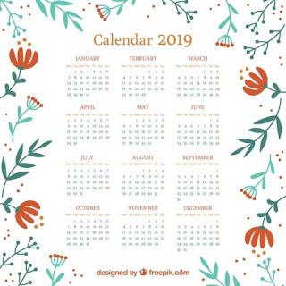 Calendario 2019 con elementos florales Vector Gratis