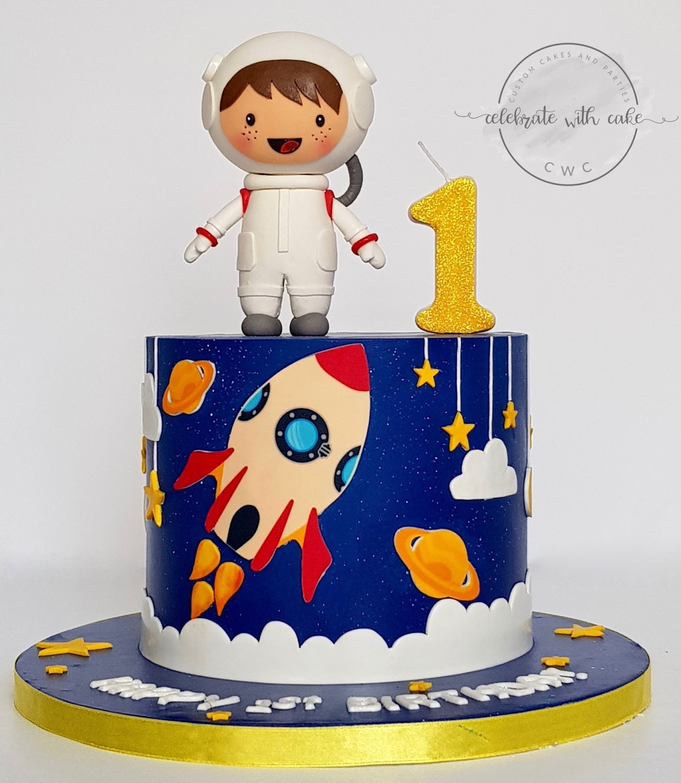 Magnificent Celebrate With Cake Astronaut In Space 1St Birthday Cake Funny Birthday Cards Online Inifofree Goldxyz