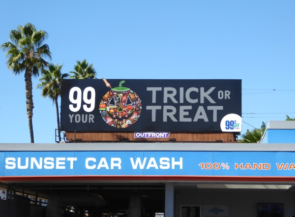 99c Trick or Treat Halloween pumpkin billboard Sunset Strip