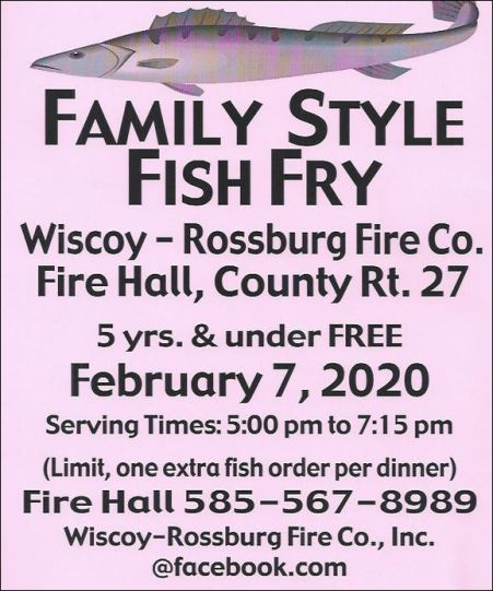 2-7 Fish Fry, Wiscoy-Rossburg Fire Co.