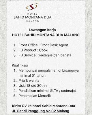 Lowongan Kerja Hotel Sahid Montana Dua