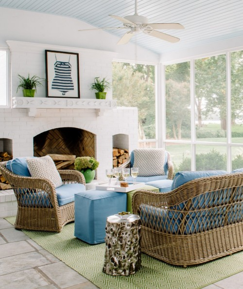 Coastal Sun Room with Natural Rattan Furniture