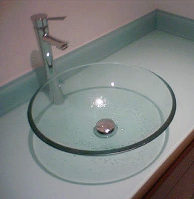GLASS BOWL ON PAINTED GLASS VANITY  BROOKLYN