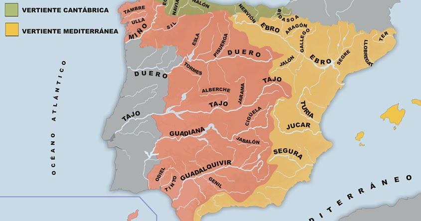 Mapa Hidrografico De España Mudo.Mapa Hidrografico Espana Mapa