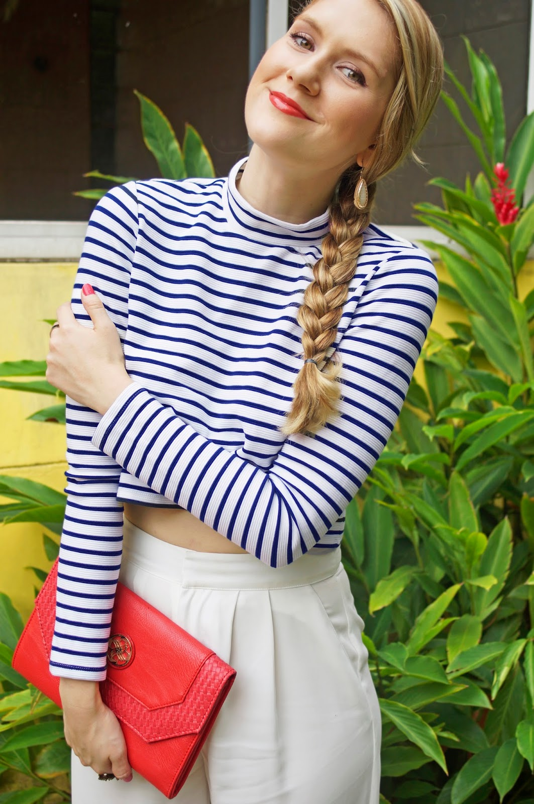 This striped shirt goes great with simple white pants!