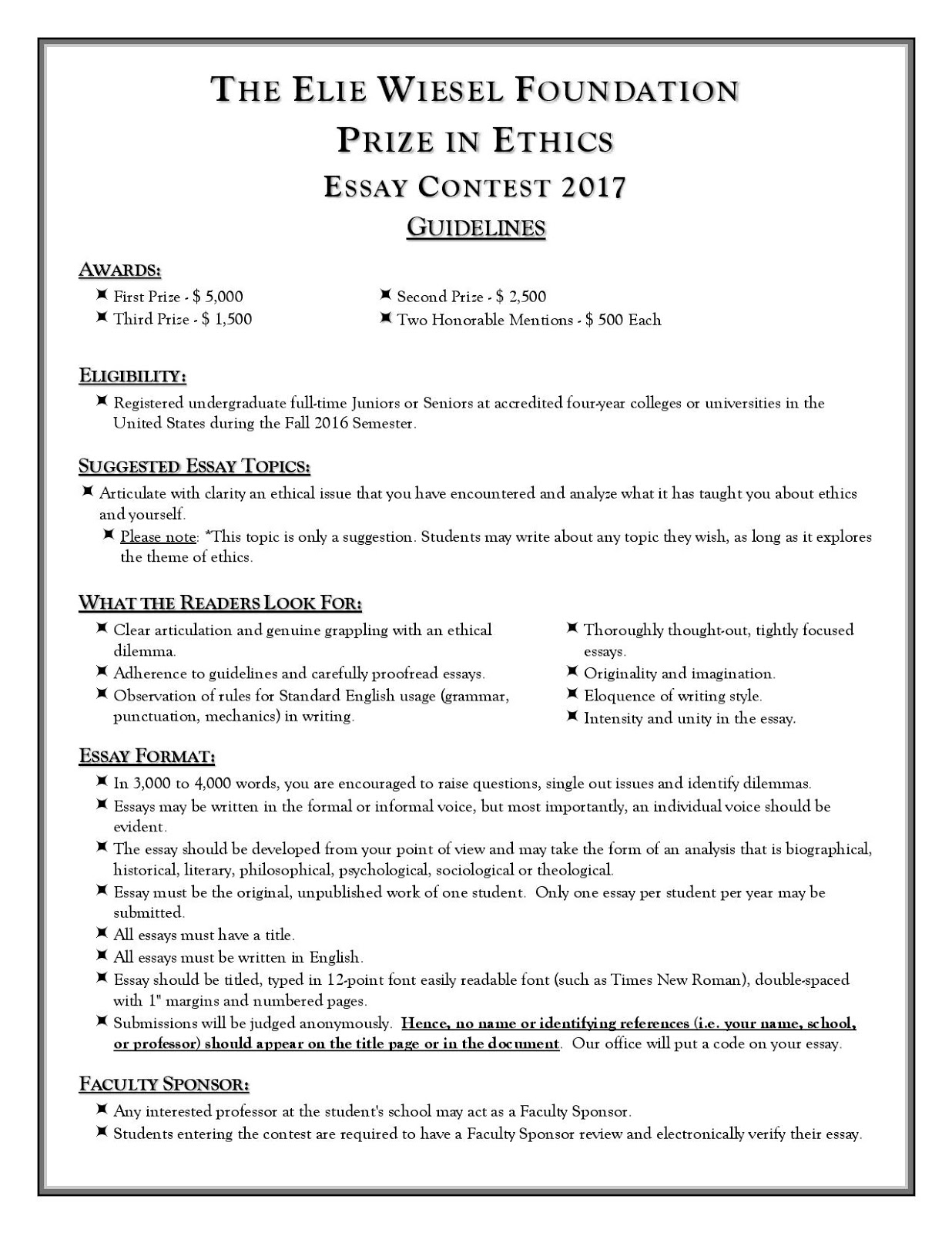 politics and government university of puget sound elie wiesel foundation prize in ethics essay contest 2017 deadline 12 19