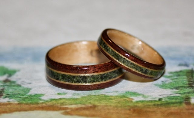 Black Walnut Wood Rings with birds eye maple and Jade