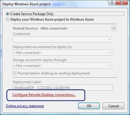 Enabling Remote Desktop for Windows Azure Web Role | Dot Net