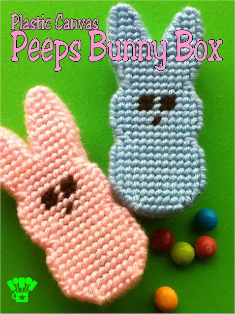Easily make this fun Easter bunny peeps box for your Easter basket using plastic canvas and this free pattern.  It's fun, easy, and so sweet!