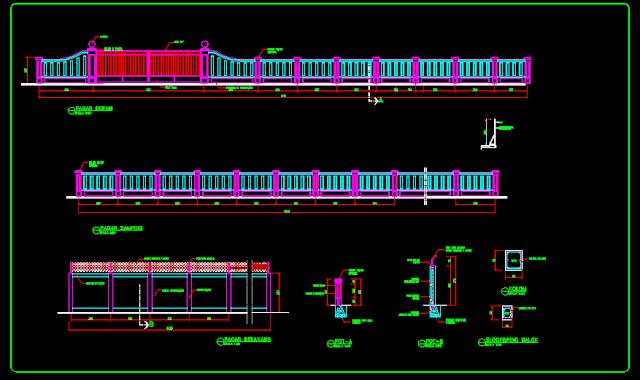 Gambar Kerja Konstruksi Pagar Besi & Pagar Tembok Dwg