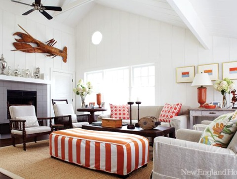 orange striped ottoman coffee table idea