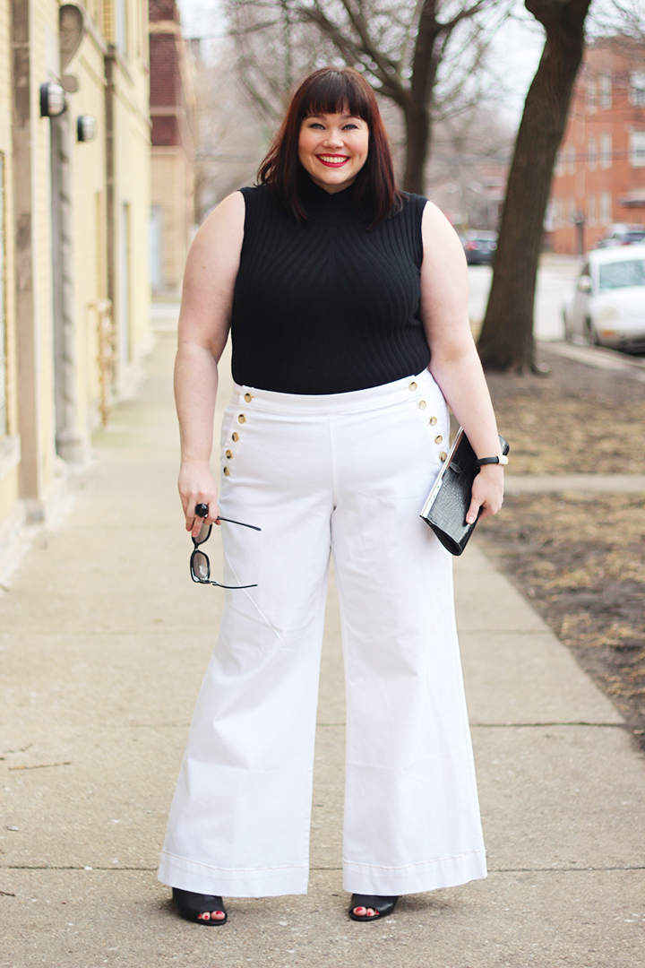 Found at Lane Bryant: White Plus Size Sailor Pants