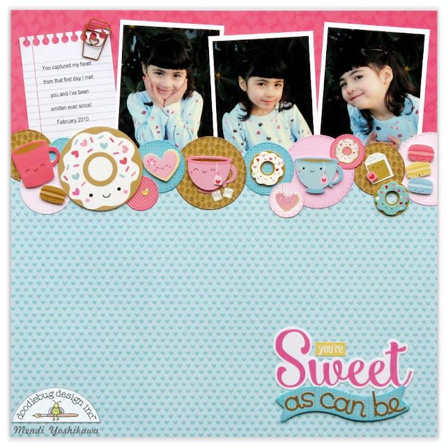 Doodlebug Design Cream & Sugar Valentine's Day Scrapbook Layout by Mendi Yoshikawa.