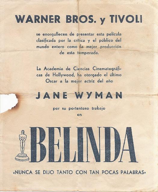 Programa de Cine - Belinda (Horizontal) - Jane Wyman - Lew Ayres