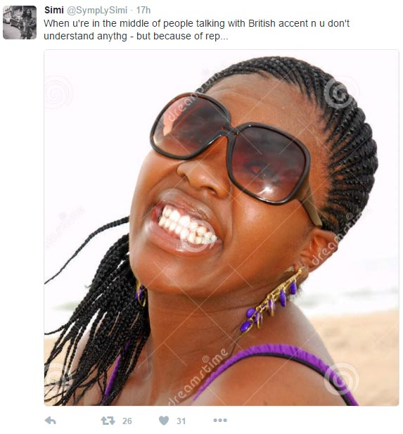 Check out Simi's hilarious tweet about British accent